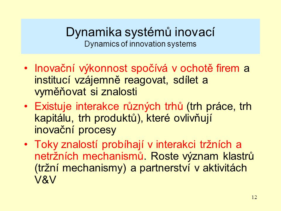 Dynamika systémů inovací Dynamics of innovation systems