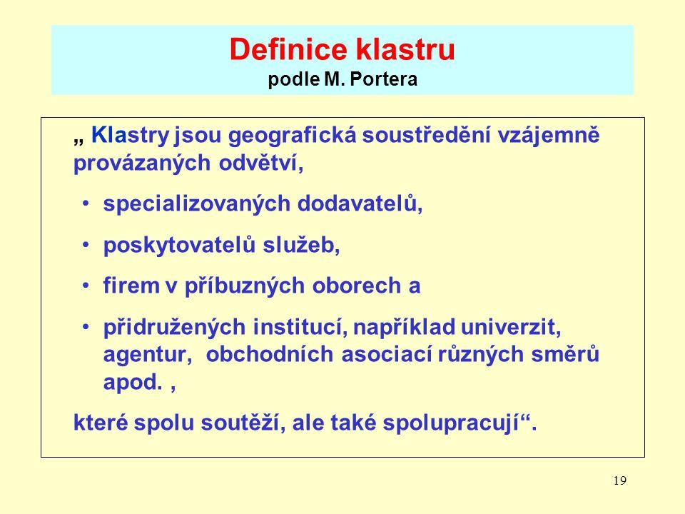 Definice klastru podle M. Portera