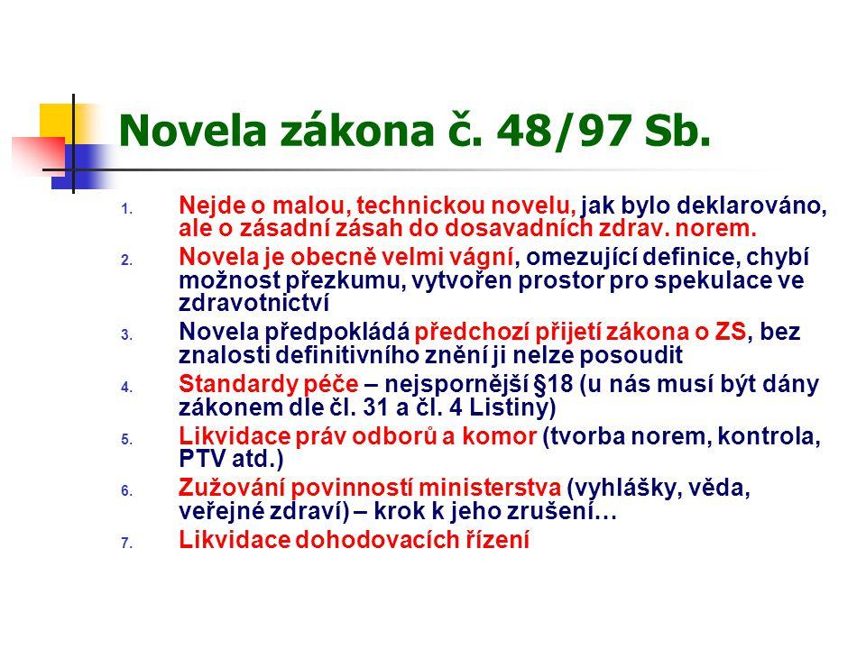 Novela zákona č. 48/97 Sb. Nejde o malou, technickou novelu, jak bylo deklarováno, ale o zásadní zásah do dosavadních zdrav. norem.