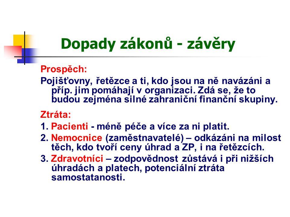 Dopady zákonů - závěry Prospěch: