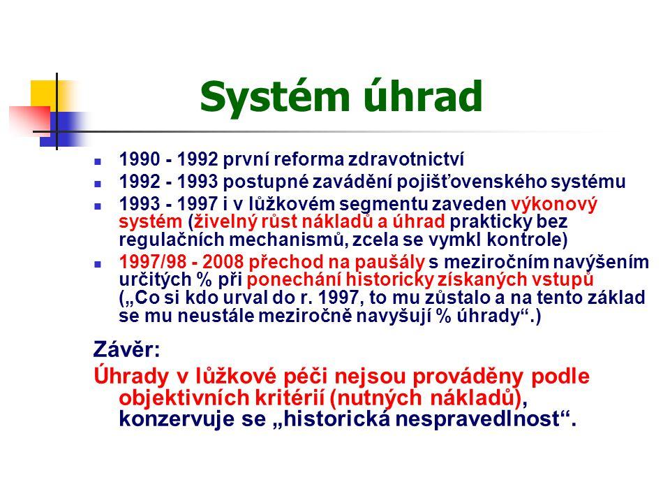 Systém úhrad 1990 - 1992 první reforma zdravotnictví. 1992 - 1993 postupné zavádění pojišťovenského systému.