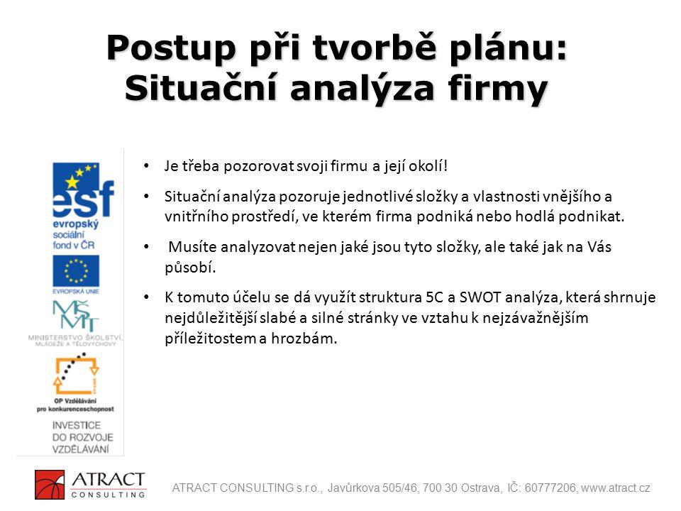 Postup při tvorbě plánu: Situační analýza firmy