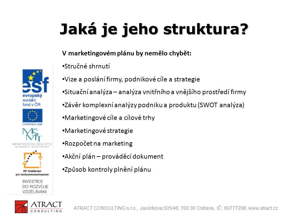 Jaká je jeho struktura V marketingovém plánu by nemělo chybět: