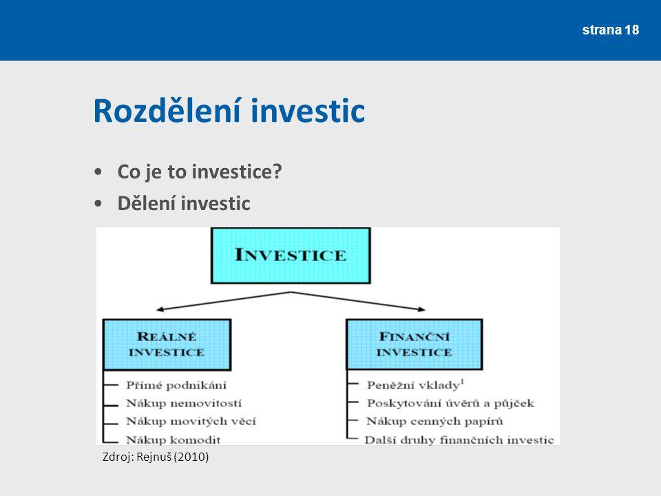 Rozdělení investic Co je to investice Dělení investic