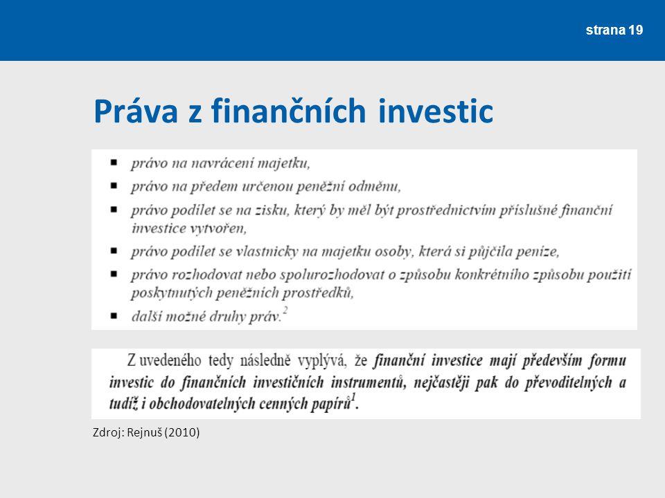 Práva z finančních investic
