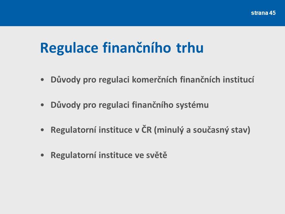 Regulace finančního trhu