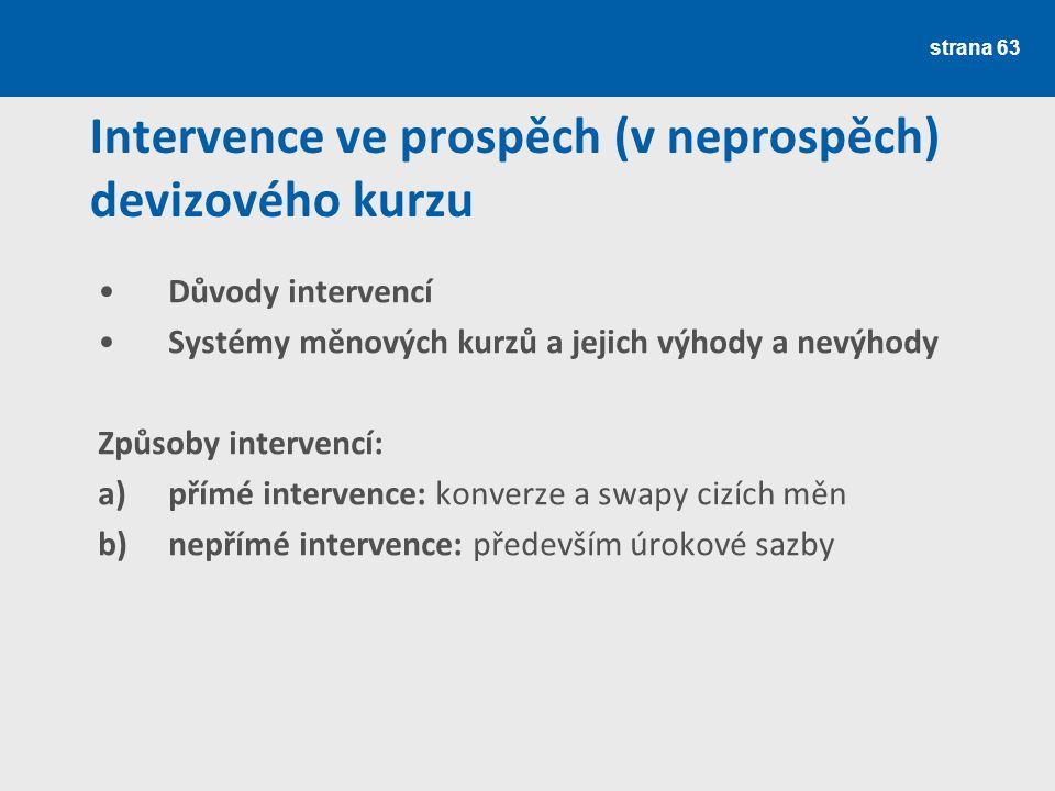 Intervence ve prospěch (v neprospěch) devizového kurzu
