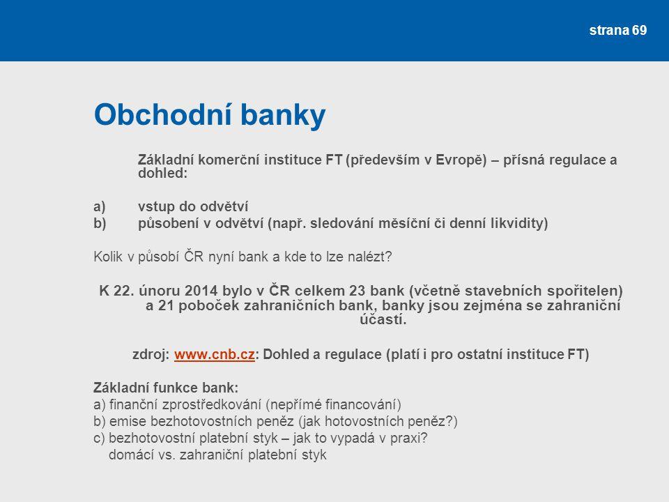 Obchodní banky Základní komerční instituce FT (především v Evropě) – přísná regulace a dohled: a) vstup do odvětví.