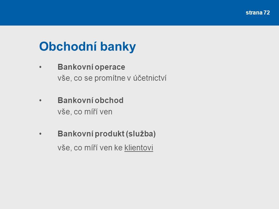 Obchodní banky Bankovní operace vše, co se promítne v účetnictví