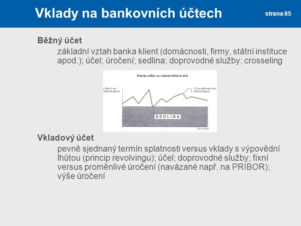 Vklady na bankovních účtech