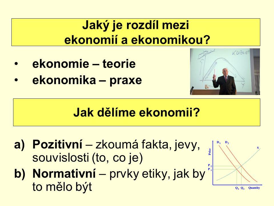 Jaký je rozdíl mezi ekonomií a ekonomikou ekonomie – teorie. ekonomika – praxe. Pozitivní – zkoumá fakta, jevy, souvislosti (to, co je)