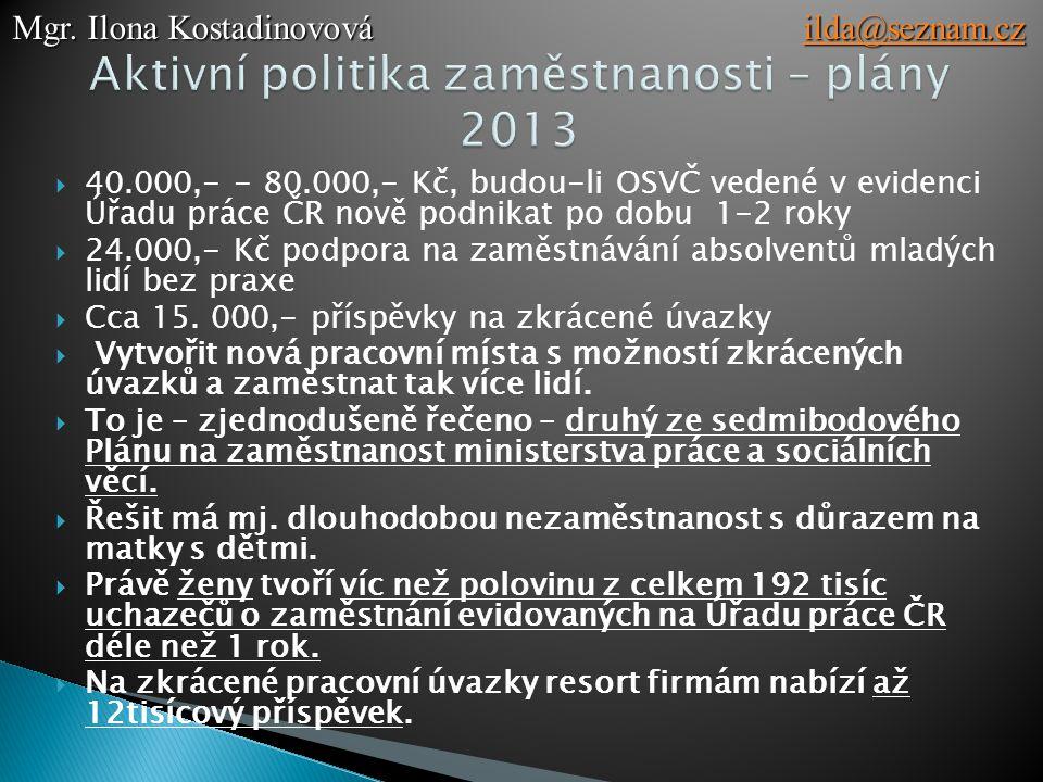 Aktivní politika zaměstnanosti – plány 2013