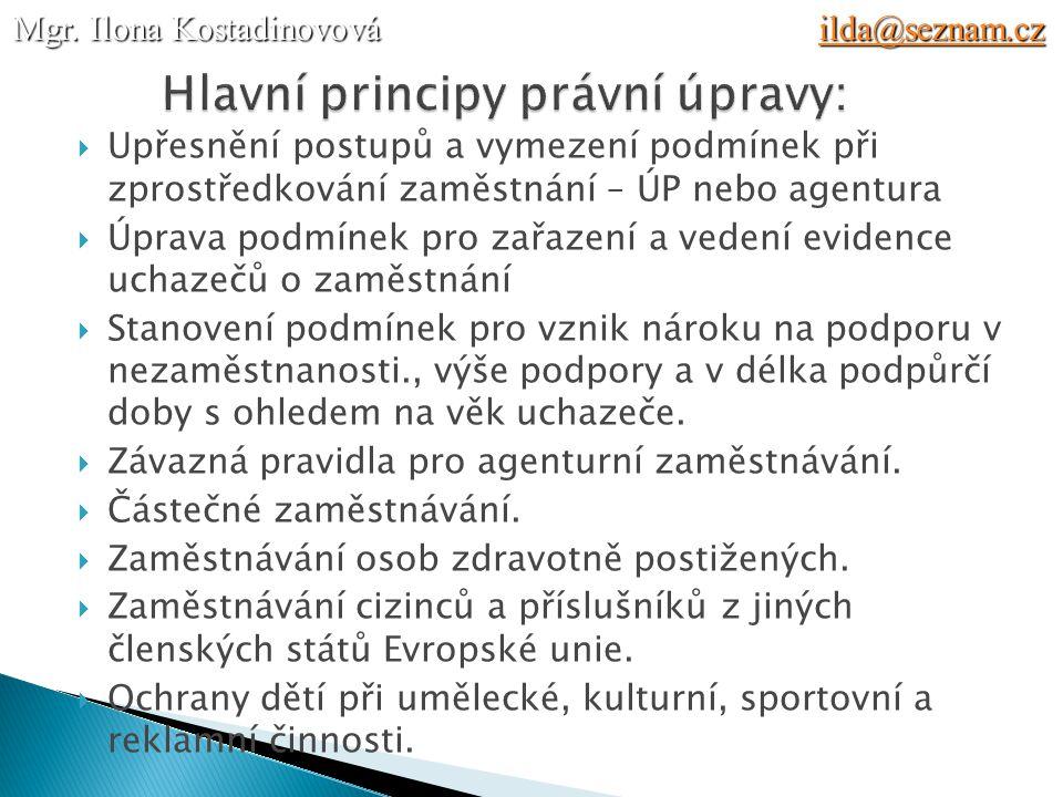 Hlavní principy právní úpravy: