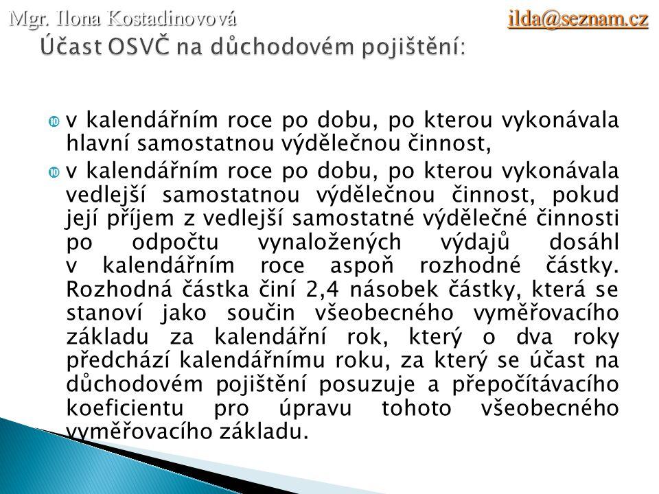 Účast OSVČ na důchodovém pojištění:
