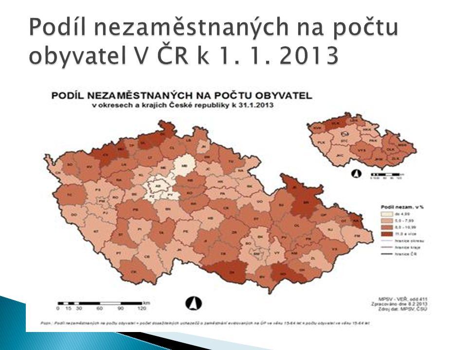 Podíl nezaměstnaných na počtu obyvatel V ČR k 1. 1. 2013
