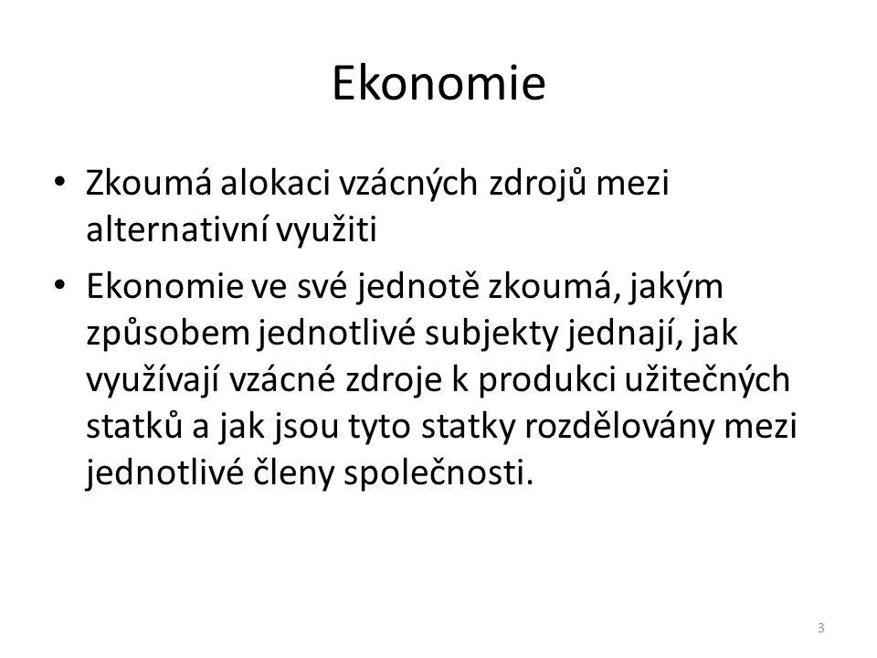 Ekonomie Zkoumá alokaci vzácných zdrojů mezi alternativní využiti