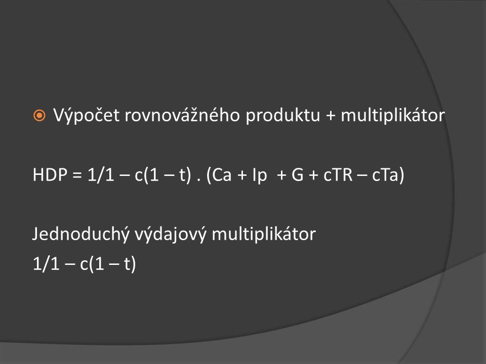 Výpočet rovnovážného produktu + multiplikátor