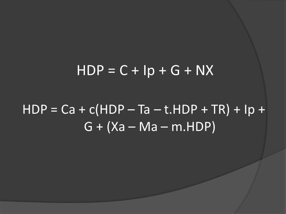 HDP = Ca + c(HDP – Ta – t.HDP + TR) + Ip + G + (Xa – Ma – m.HDP)