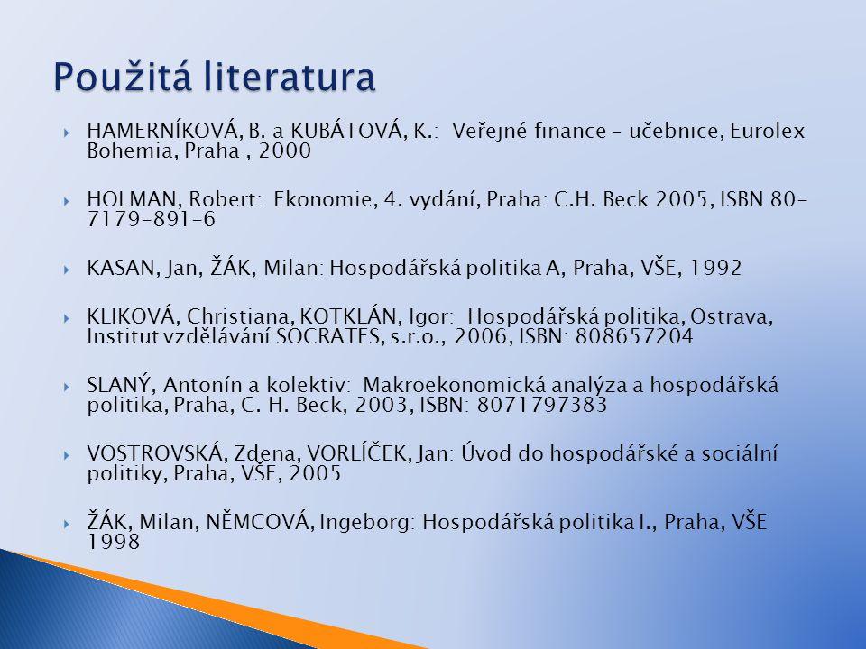 Použitá literatura HAMERNÍKOVÁ, B. a KUBÁTOVÁ, K.: Veřejné finance – učebnice, Eurolex Bohemia, Praha , 2000.
