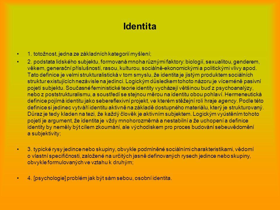 Identita 1. totožnost, jedna ze základních kategorií myšlení;