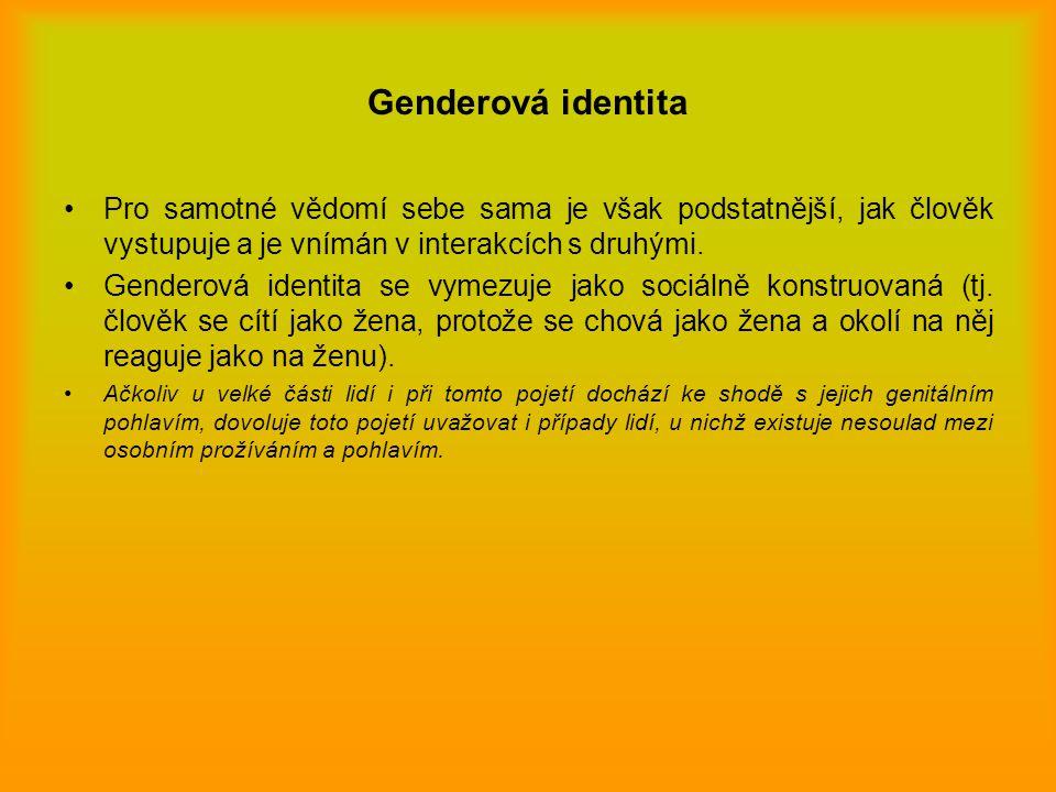 Genderová identita Pro samotné vědomí sebe sama je však podstatnější, jak člověk vystupuje a je vnímán v interakcích s druhými.