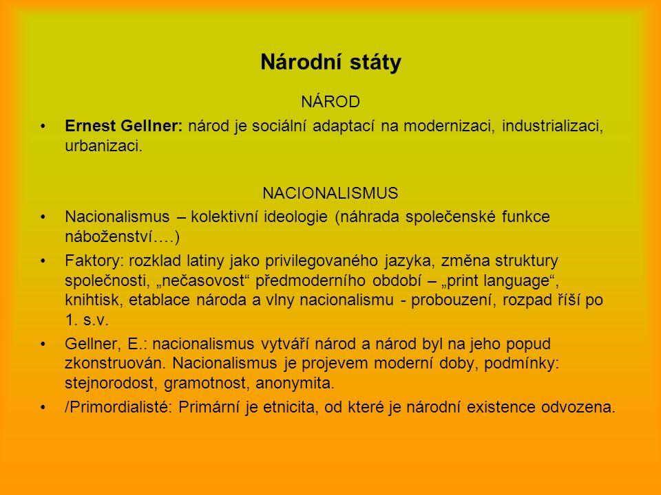 Národní státy NÁROD. Ernest Gellner: národ je sociální adaptací na modernizaci, industrializaci, urbanizaci.