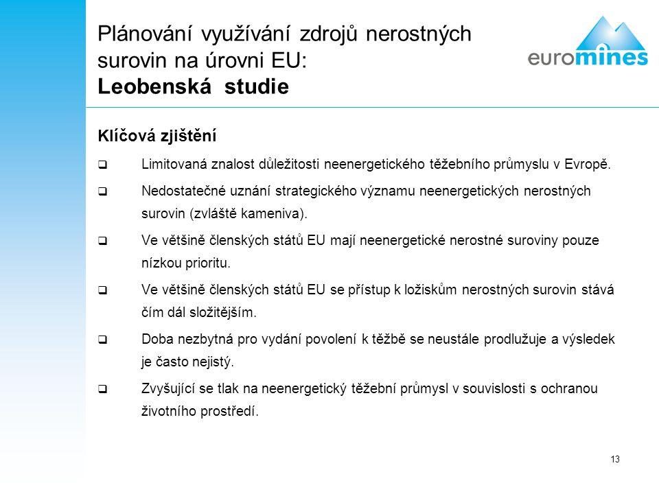 Plánování využívání zdrojů nerostných surovin na úrovni EU: Leobenská studie
