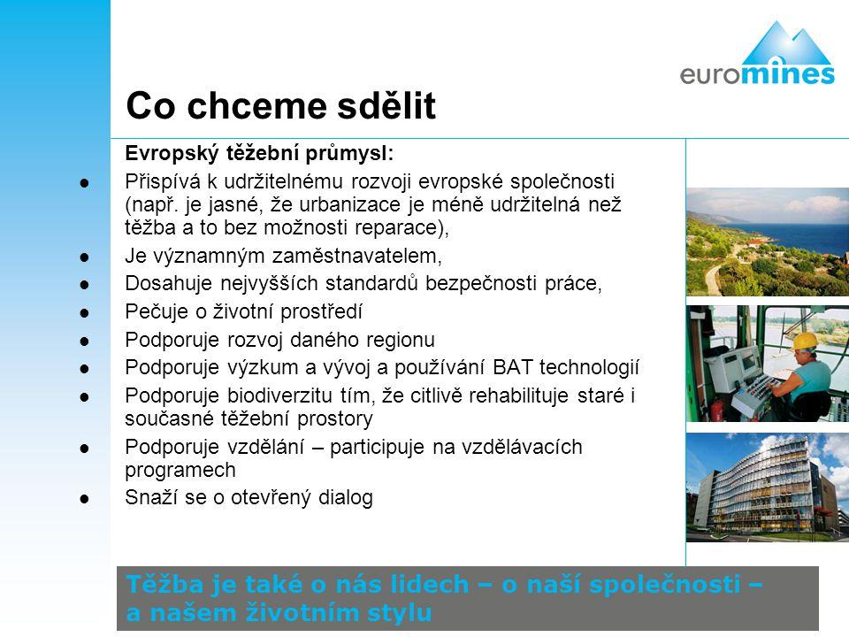 Co chceme sdělit Evropský těžební průmysl: