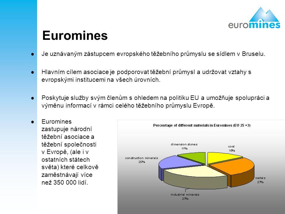 Euromines Je uznávaným zástupcem evropského těžebního průmyslu se sídlem v Bruselu.