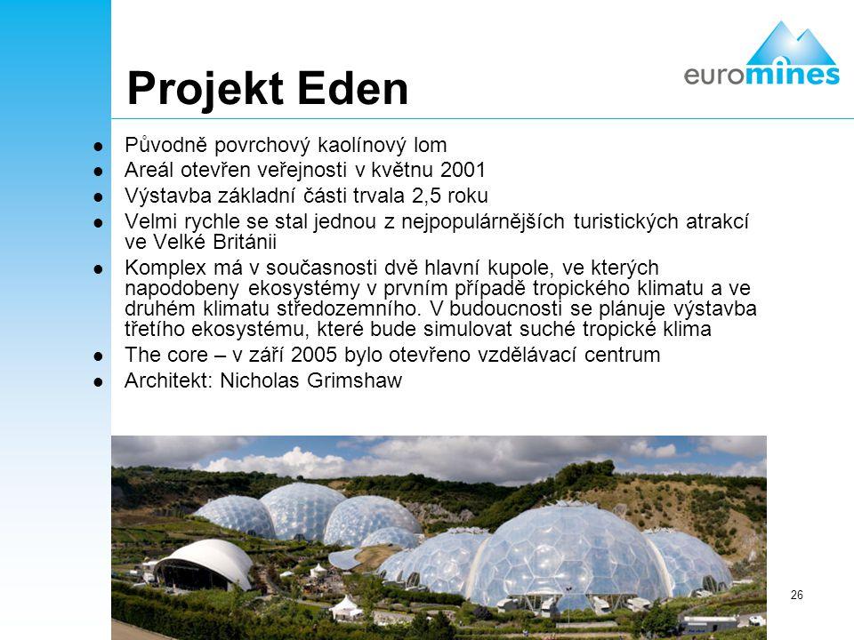 Projekt Eden Původně povrchový kaolínový lom