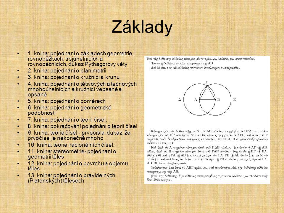 Základy 1. kniha: pojednání o základech geometrie, rovnoběžkách, trojúhelnících a rovnoběžnících, důkaz Pythagorovy věty.