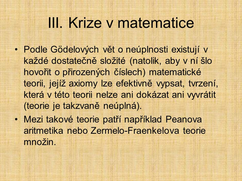 III. Krize v matematice