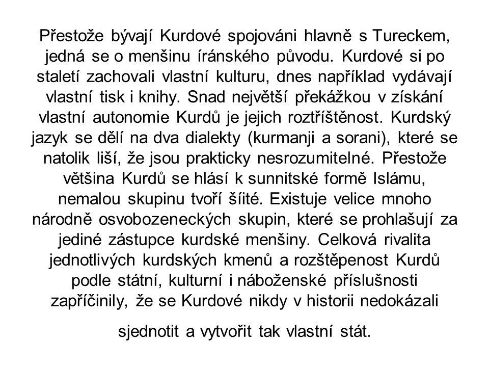 Přestože bývají Kurdové spojováni hlavně s Tureckem, jedná se o menšinu íránského původu.