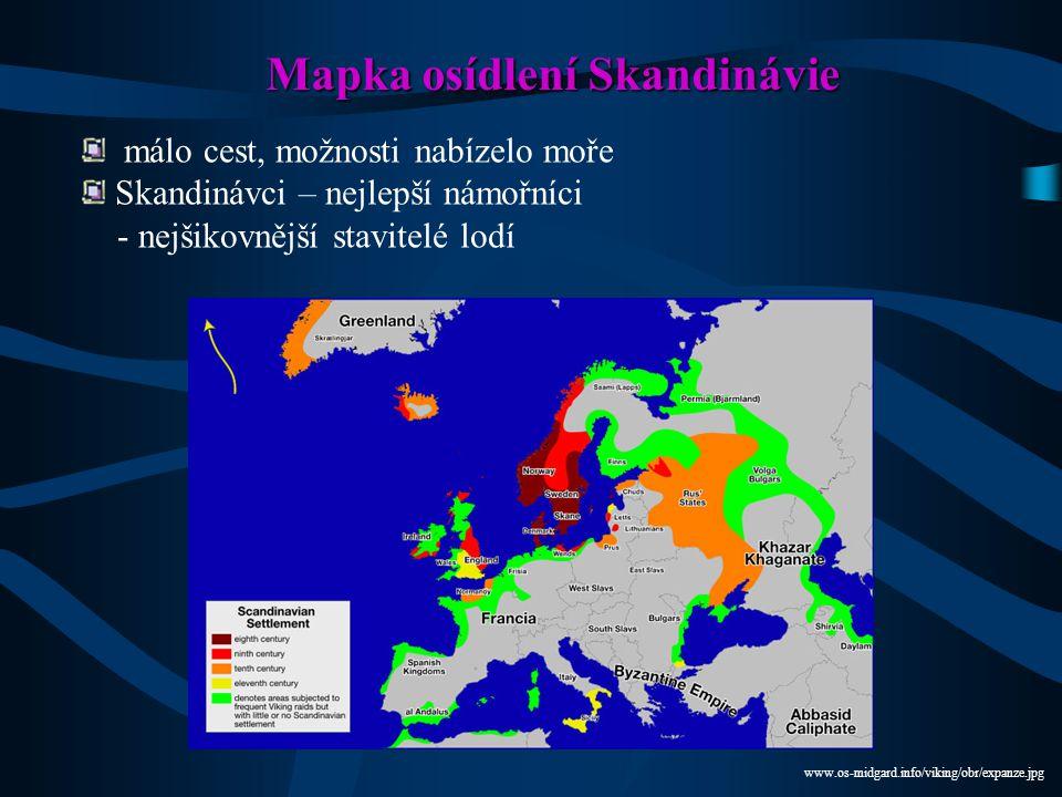 Mapka osídlení Skandinávie