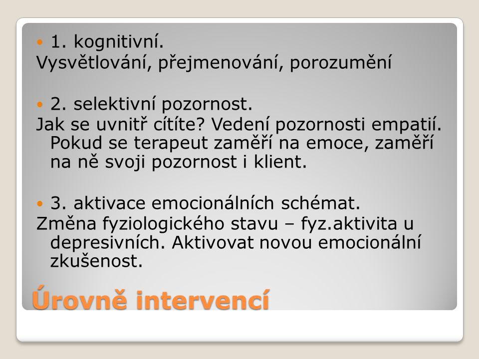 Úrovně intervencí 1. kognitivní.