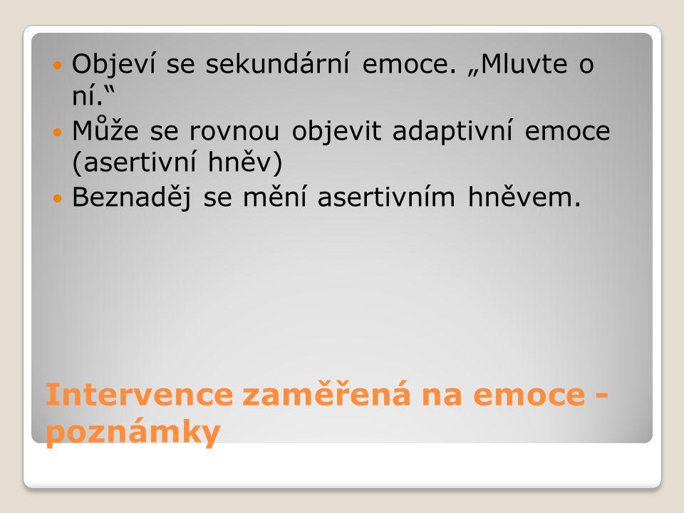 Intervence zaměřená na emoce - poznámky