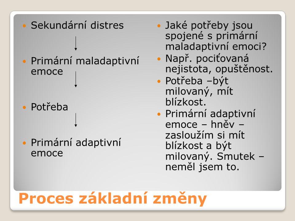 Proces základní změny Sekundární distres Primární maladaptivní emoce