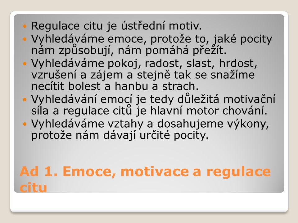 Ad 1. Emoce, motivace a regulace citu