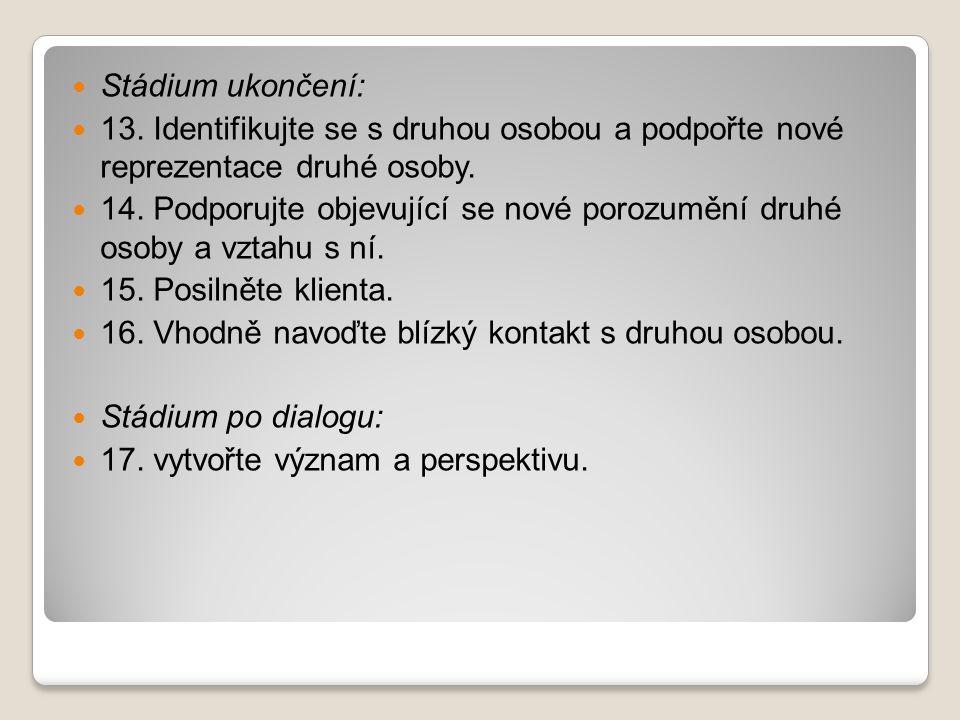 Stádium ukončení: 13. Identifikujte se s druhou osobou a podpořte nové reprezentace druhé osoby.