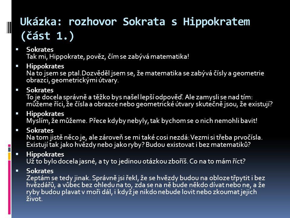 Ukázka: rozhovor Sokrata s Hippokratem (část 1.)