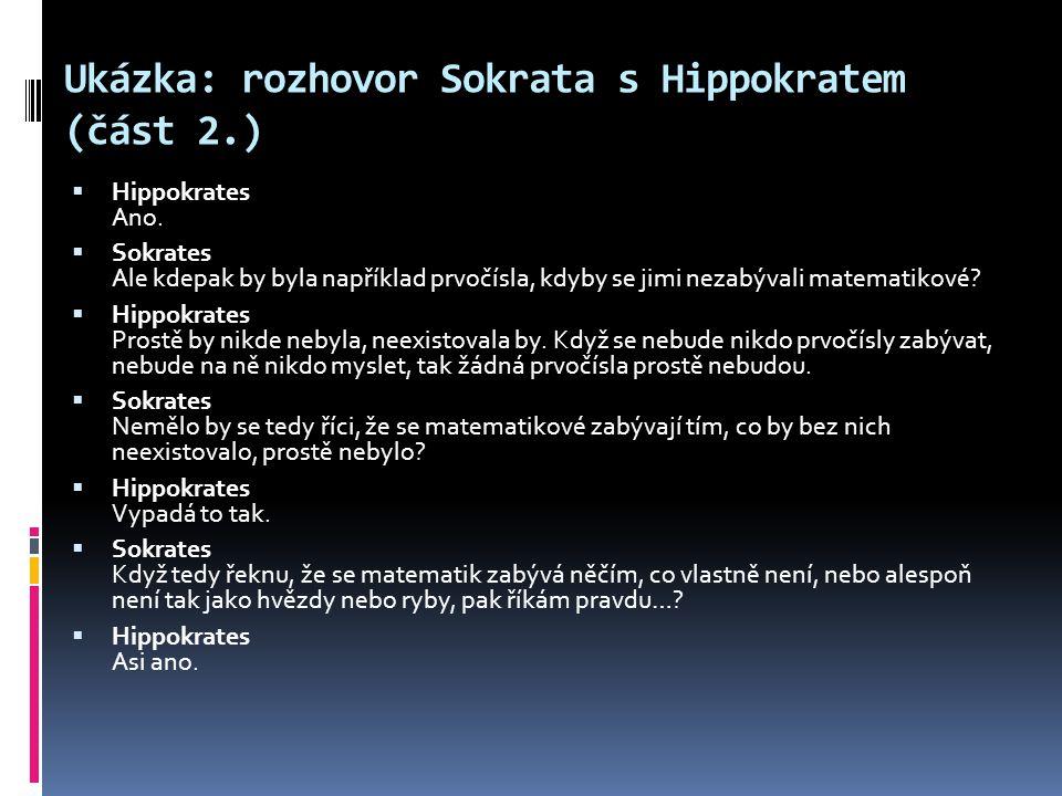 Ukázka: rozhovor Sokrata s Hippokratem (část 2.)
