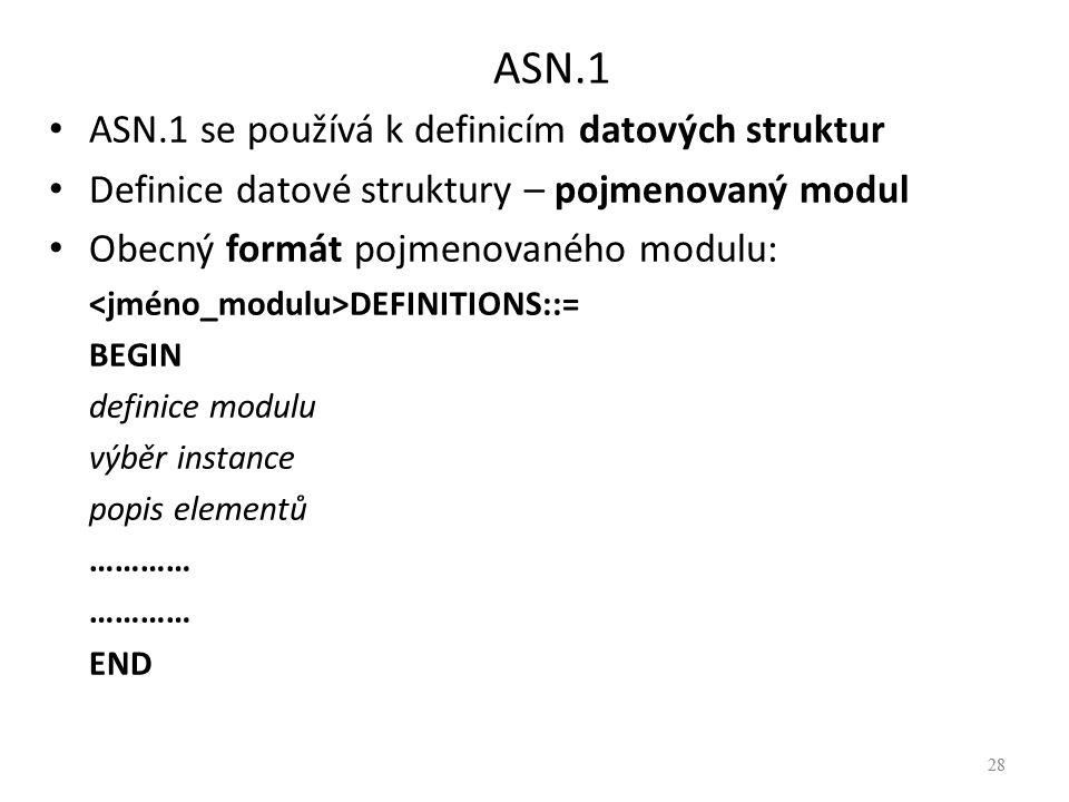 ASN.1 ASN.1 se používá k definicím datových struktur