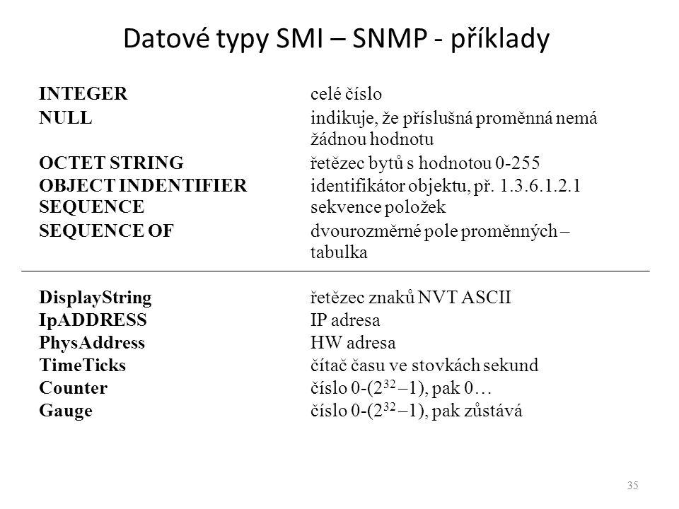 Datové typy SMI – SNMP - příklady