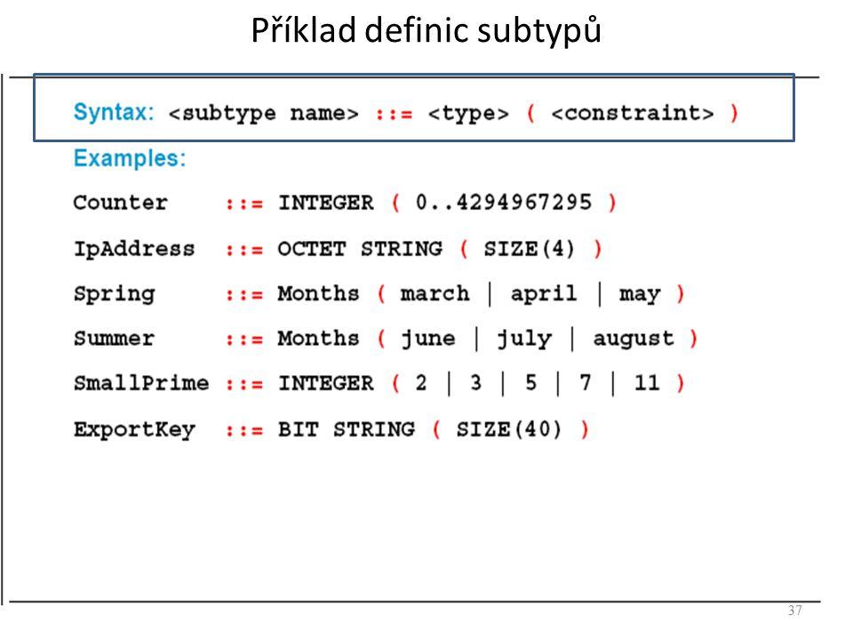 Příklad definic subtypů