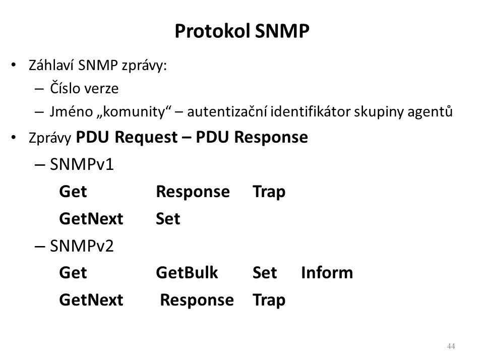 Protokol SNMP SNMPv1 Get Response Trap GetNext Set SNMPv2