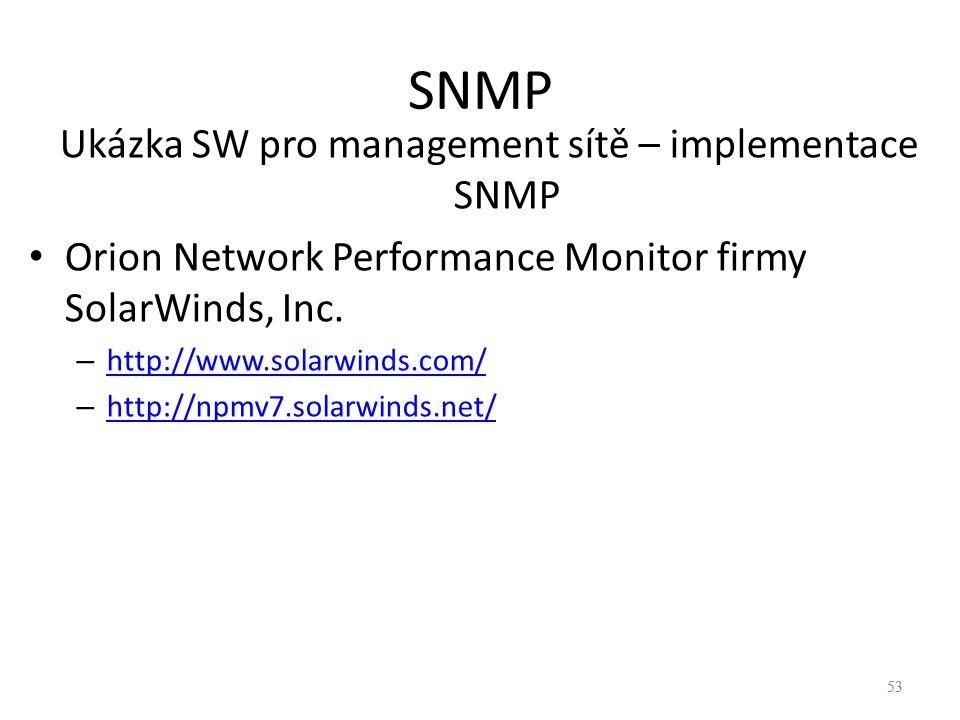Ukázka SW pro management sítě – implementace SNMP