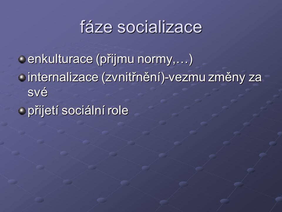fáze socializace enkulturace (přijmu normy,…)