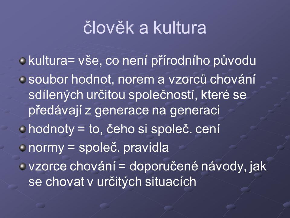 člověk a kultura kultura= vše, co není přírodního původu