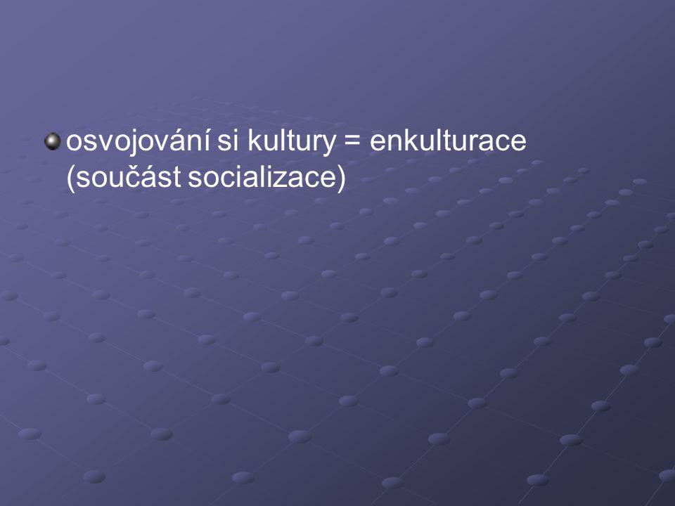 osvojování si kultury = enkulturace (součást socializace)