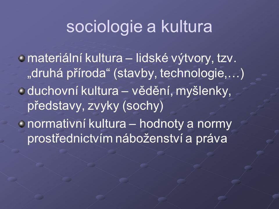 """sociologie a kultura materiální kultura – lidské výtvory, tzv. """"druhá příroda (stavby, technologie,…)"""